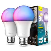 Smart Light Bulbs 2 Pack, Treatlife 2.4GHz Music Sync Color Changing Light Bulb, Works with Alexa, Google Home, A19 E26 9W 800 Lumen LED Dimmable Smart Bulb, for Party Decoration, Smart Home Lighting