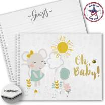 Hardcover Sweet Sunshine Landscape Baby Shower Guestbook, 120 Lined Pages, Soft Touch Mate Laminated Cover, Lay Flat White Wire-o Spiral Binding.