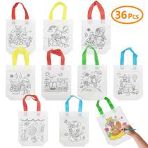 Sibosen 36pcs Party Favor Bags, Eco Reusable Coloring Carnival Animal Art Party Paper Goodie Bags for Birthday, Tea Party, Wedding and Party Celebration
