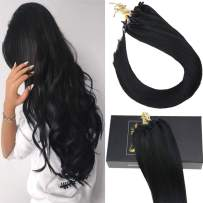 Sunny 50G 20inch Hair Micro Bead Extensions #1 Jet Black Micro Ring Hair Extensions Straight 100% Real Hair 1g/strand 40g+10g for Free