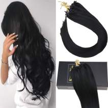 Sunny 50G 24inch Human Hair Extensions Micro Ring Color #1 Jet Black Straight Micro Loop Real Hair Extensions 1g/strand 40g+10g for Free