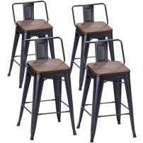 TONGLI Metal Counter Stools Kitchen Counter Height Bar Stools Set of 4 Metal Bar Stool 24 Inches Dining Chairs Wooden Seat Matte Black, Low Back
