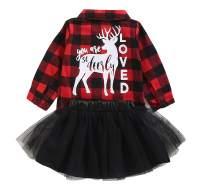 Newborn Baby Girls 2Pcs Christmas Dress Set Button Down Plaid Flannel T-Shirt + Tulle Tutu Skirts Clothes Set
