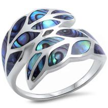 Oxford Diamond Co Abalone Leaf Shell .925 Sterling Silver Ring Sizes 5-12