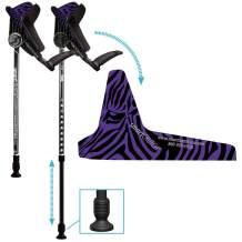smartCRUTCH Racer Series Forearm Crutch 15-90 Degree Rotation - 2 Ergonomic Walking Aids, Adjustable 4'4-6'7 Adult Athlete Elderly Injury/Disability, Mobility Support - Large, Zebra Purple