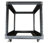 Kenuco 9U Standing Open Frame Rack with 4 Wheels and 4 Legs - Steel Network Equipment Rack 17.75 Inch Deep