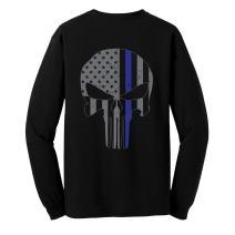 GunShowTees Men's Blue Lives Matter/Skull Flag Blue Line Long Sleeve T-Shirt