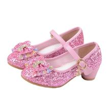 YING LAN Girl's Princess Cosplay Performance Shoes Sequins Wedding Party Dress Shoes Low Heeled Mary Jane