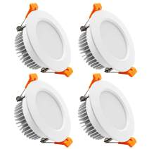 YGS-Tech 3.5 Inch LED Recessed Lighting Dimmable Downlight, 7W(55W Halogen Equivalent), 4000K Nature White, CRI80, LED Ceiling Light with LED Driver (4 Pack)