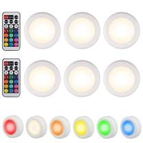 EEEKit Dimmable Puck Light Stick-on 6-Pack, Under Counter RGB LED Light for Cabinet Wardrobe Kitchen Closet Wireless Remote Control Color Changing Multi-Color