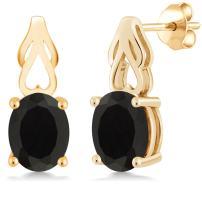 Gem Stone King Black Onyx 18K Yellow Gold Plated Silver Earrings Gemstone Birthstone 4.00 Ct Oval 9X7MM