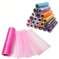 Meijuner 29CM Width X 25M Length Organza Roll Sashes Fabric Table Runner Chair Sashes Bow for Decoration (Dark Pink)