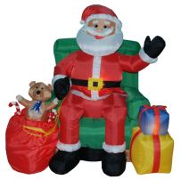 4 Foot Animated Christmas Inflatable Santa Claus on Sofa Yard Decoration