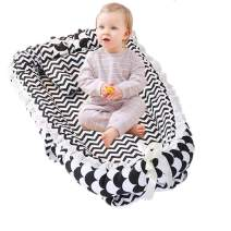 Abreeze Ruffled Baby Bassinet for Bed -White Striped Baby Lounger - Breathable & Hypoallergenic Co-Sleeping Baby Bed - 100% Cotton Portable Crib for Bedroom/Travel