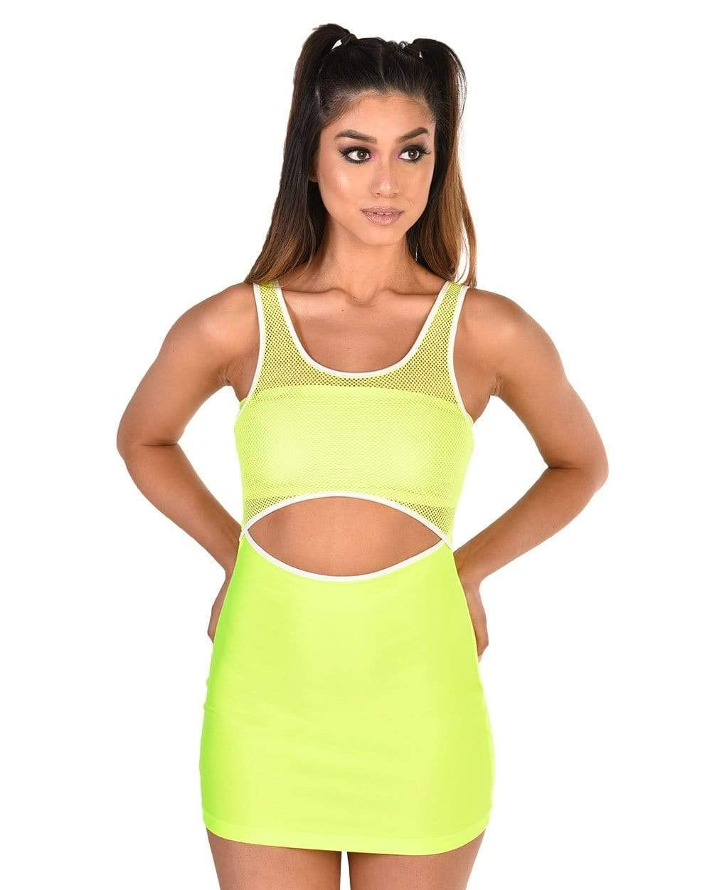 iHeartRaves Women's Sheer Mesh Cutout Rave Festival Dresses