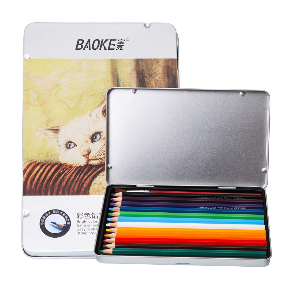 BAOKE Drawing Watercolor Pencils, Professional Wood Colored Pencils Art Set for Adluts and Kids PW1612 (12 colors)