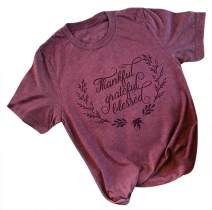Women's Thanksgiving Thankful Feather Arrow Print O-Neck T-Shirt