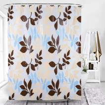 ESSORT Shower Curtain Plastic 71 x 71'' Bath Curtain Set Waterproof Curtain Liner for Bathroom with 12 Hooks, Heavy Duty, Without Chemical Odor-Clear Flower