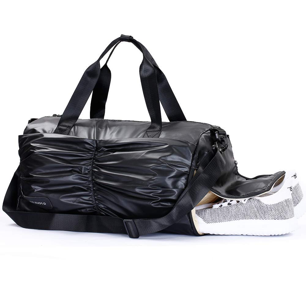 Q Four Fit Sports Duffle Bag with Shoe Compartment and Wet Pocket Water Resistent Gym Bag for Women & Men (black)