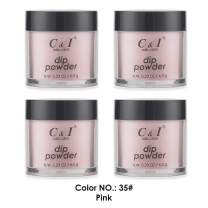 C & I Dipping Powder, Nail Colors, Gel Effect, Color # 35 Pink, 0.23 oz, 6.5 g, Red Color System (4 pcs)