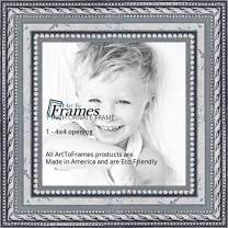 ArtToFrames 4x4 inch Ornate SIlver Wood Picture Frame, 2WOM80801-SLV-4x4