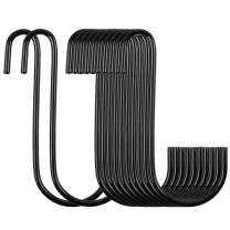 "HongWay 18 Pack Heavy Duty S Hooks Black S Shaped Hooks Hanging Hangers Hooks for Pan, Pot, Coat, Bag, Plants Kitchen, Bathroom, Bedroom and Office(18 Pack/S Hook/Black/4"")"