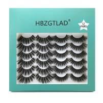 HBZGTLAD 3D Faux Mink Lashes Handmade Luxurious Volume Fluffy Natural Makeup False Eyelashes, 2 Different Styles Soft Reusable False Eyelash, & Long Lasting (1207)