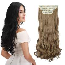 """REECHO 24"""" Curly Wavy 4 Pieces Blonde Mixed Clip in on Hair Extensions 27T613"""