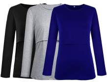 PrettyLife Women's Maternity Nursing Tops Long Sleeve Comfy Double Layered Breastfeeding Shirts 3-Pack