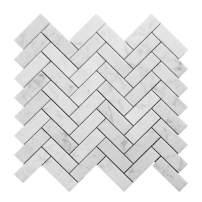 Diflart Italian White Bianco Carrara Marble 1x3 Herringbone Mosaic Tile Polished, 5 Sheets/Box (1×3 Herringbone)