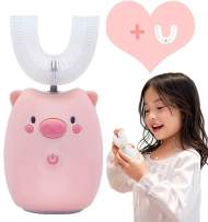 FEISIKE Ultrasonic Kids ELectric Toothbrush,U Type Toothbrush, Three Gear Speed Clearning Mode, Auto-toothbrush Specially Designed for Toddlers(Pink)