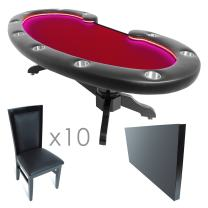 BBO Poker Lumen HD Lighted Poker Table for 10 Players with Speed Cloth Playing Surface, 101.5 x 46-Inch Oval, Includes Matching Dining Top with 10 Dining or Lounge Chairs