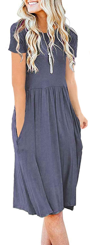 AUSELILY Women's Short Sleeve Pockets Empire Waist Pleated Loose Swing Casual Flare Dress (L, Purple Gray)