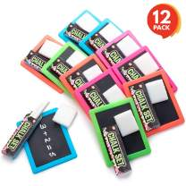 ArtCreativity Neon Chalkboard Set for Kids - 12 Kits - 1 Mini Chalk Board, 2 Chalk Sticks, and 1 Eraser Per Kit - Art Birthday Party Favors for Boys and Girls, Unique Stationery Goodie Bag Fillers