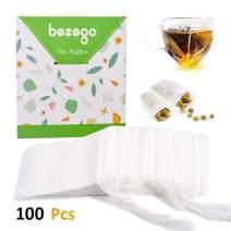 "Besego Disposable Drawstring Tea Filter Bags, Empty Tea Bags Corn Fiber Natural Material Seal Tea Infuser Bag, Biodegradable and Compostable Herb Sachet Bags for Loose Leaf Tea 100 Pcs (4.2"" x 3.2"")"