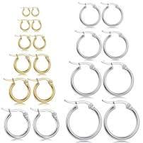 10 pairs big Hoop Earrings set for women Stainless Steel hoop Earrings gold plated Sensitive Ears fashion jewelry gifts(15-60mm)