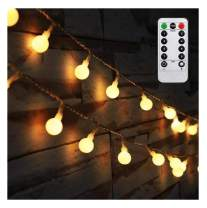 AMARS Bedroom Decor Hanging String Lights Battery Powered 16.4ft Globel Fairy Lights with Remote Timer Warm White Ambient Lighting for Home Garden Christmas Wedding Tapestry Decoration