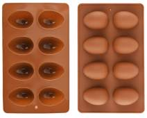 Mirenlife 8 Cavity Silicone Egg Pan, Egg Tray, Egg Shape Ice Tray, Silicone Baking Supplies for Cake Decorating, Chocolate, Candy, Jello, Baking Pan for Muffin, Bread and More, Set of 2