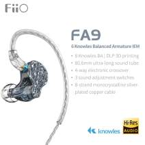 FiiO FA9 Knowles 6 Balanced Armature Driver in-Ear HiFi Earphone with Detachable MMCX monocrystalline Silver-Plated Copper Cable DLP 3D Priting, High Resolution for Smartphones/PC/Tablet (Black)