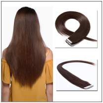 Tape in Hair Extensions Human Hair 14''-24'' Double Side Tape Seamless Skin Weft Rooted Tape on Natural Hair Extensions 20pcs Long Straight Silky (16 inch 50g,#4 Medium Brown)