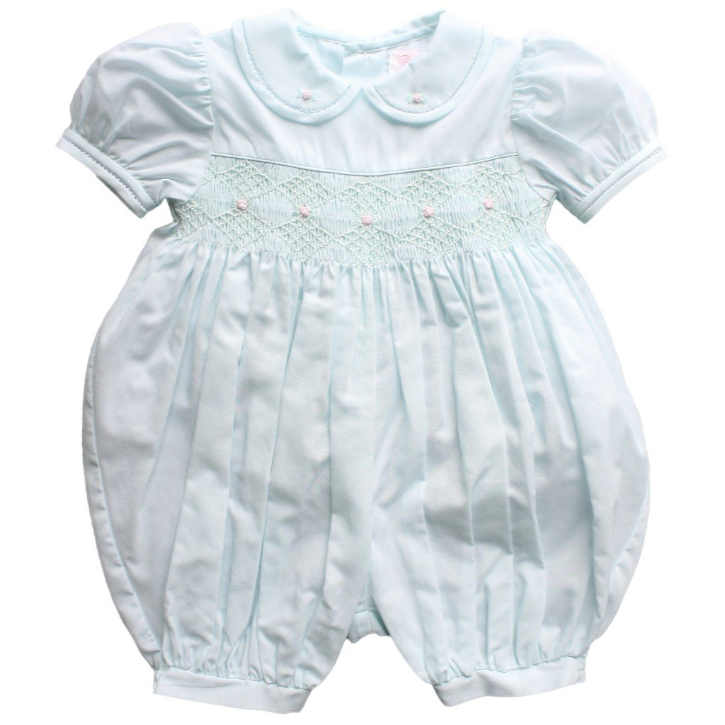 Petit Ami Baby Girls' French Bubble with Diamond Smocking, 9 Months, Mint