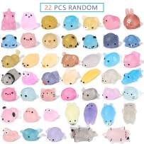 SYYISA Mochi Squishies Animals, 2nd Generation 22 Pc Mochi Squishys Toys Party Favors for Kids, Mini Glitter Squishys Toys for Children Adults, Like Rabbit Panda Cat Bear, Twinkle All The Way, Random