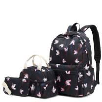 H HIKKER-LINK Unicorn School Backpack Set Bookbag&Lunch Bag&Pencil Case Black