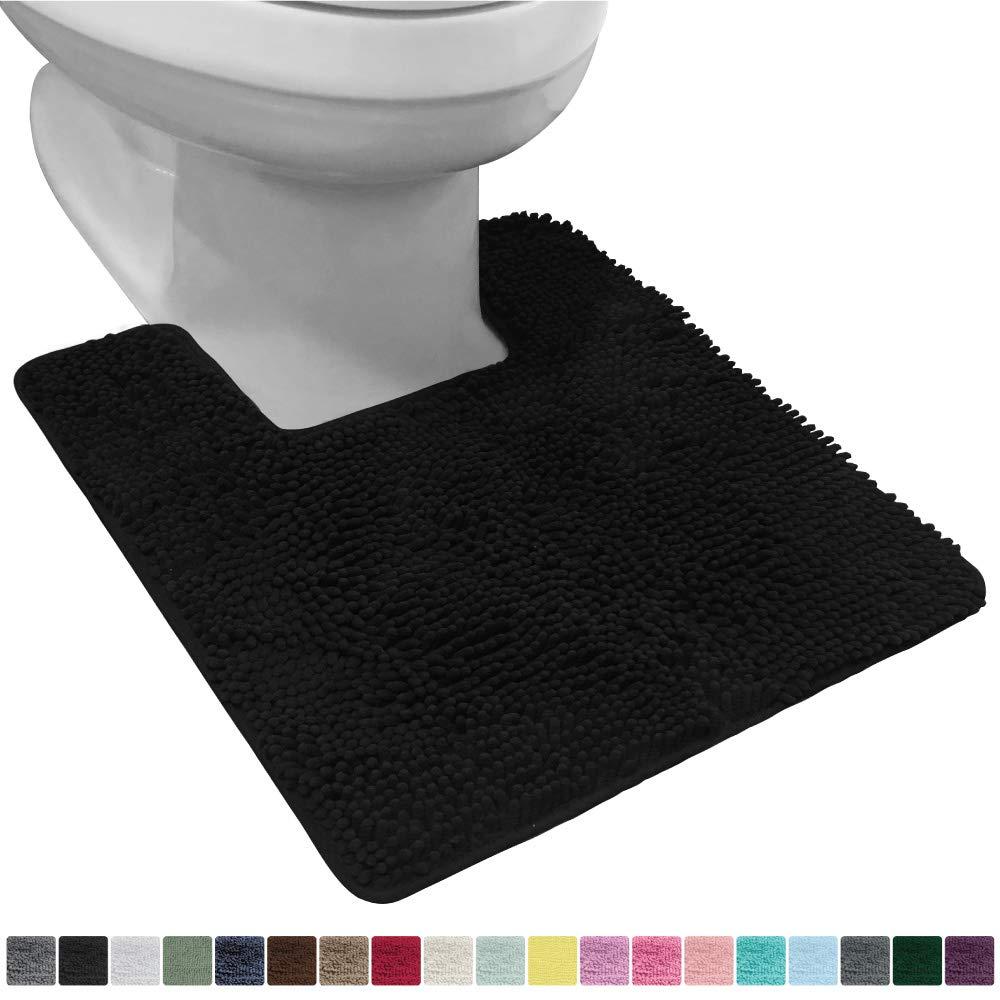 Gorilla Grip Original Shaggy Chenille Square U-Shape Contoured Mat for Base of Toilet, 22.5x19.5 Size, Machine Wash and Dry, Soft Plush Absorbent Contour Carpet Mats for Bathroom Toilets, Black