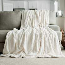 """GRACED SOFT LUXURIES Softest Warm Elegant Cozy Faux Fur Home Throw Blanket (Solid Ivory, Extra Large 60"""" x 80"""")"""