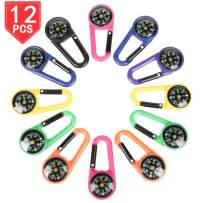 PROLOSO 12 Pack Carabiner Compasses for Kids Assorted Colors Belt Clips School Prizes Party Favors