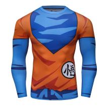 Red Plume Men's 3D Compression Long Sleeve Shirt Skin Tight Anime Printing Tee