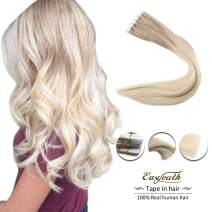 Easyouth 12inches Hairpiece Tape for Extensions Real Human Hair Ash Blonde Fading to Platinum Blonde 60g per Package Tape in Hair Extensions Glue in Hair Skin Weft