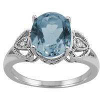Oval Aquamarine and Diamond Ring in 10K White Gold