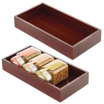 mDesign Bamboo Kitchen Cabinet Drawer Organizer Stackable Tray Bin - Eco-Friendly, Multipurpose - Use in Drawers, on Countertops, Shelves or in Pantry - 2 Pack - Espresso Brown Wood Finish